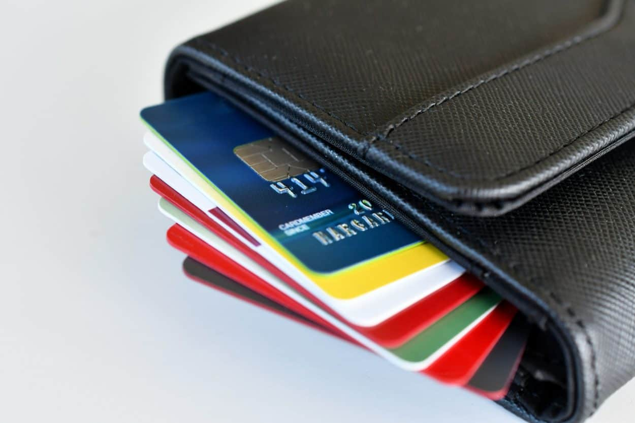 Credit card - stack of credit cards in wallet shopping, spending, purchasing, credit rating score